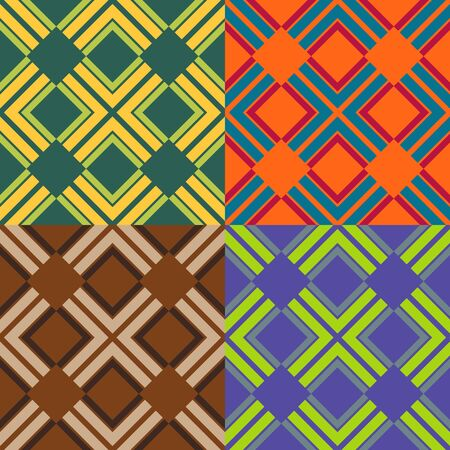 Set of seamless vector patterns of colored rectangles