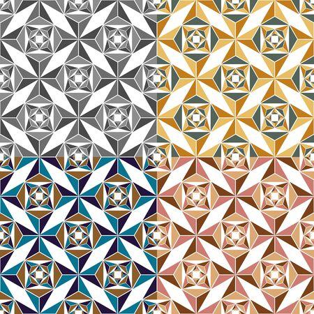 色の三角形のシームレス パターンのセット  イラスト・ベクター素材