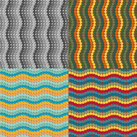 色のついた丸のシームレス パターンのセット