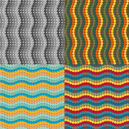 A set of seamless vector patterns of colored circles
