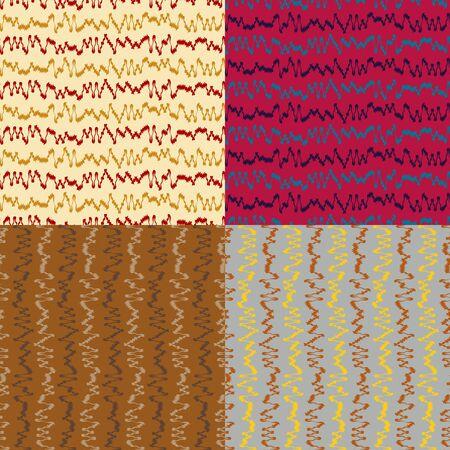 色カーブの波線のシームレス パターンのセット