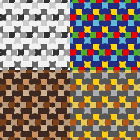 Set color of seamless patterns of quadrangles on a monophonic background Vector