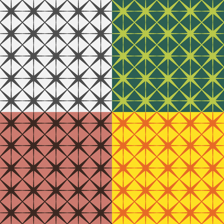monophonic: Set of colorful seamless patterns from cells on a monophonic background