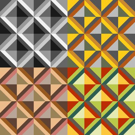 Set color of seamless geometric symmetrical patterns Vector