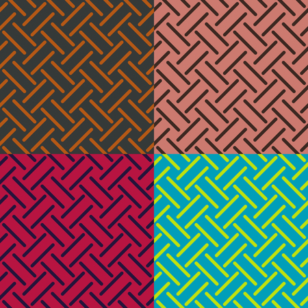 Set color of seamless patterns from stripes on a monophonic background Vector