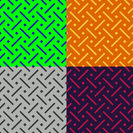 monophonic: Set of colorful seamless patterns from stripes and squares on a monophonic background Illustration