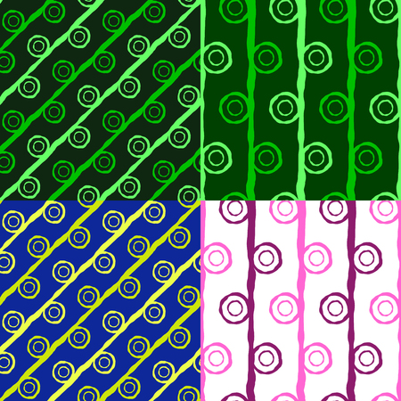 A set of seamless geometric patterns of irregular curves shapes Vector