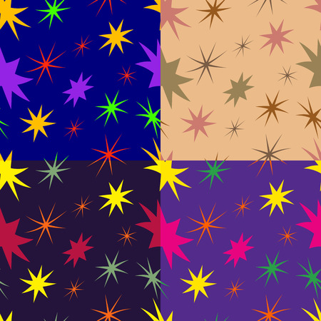 monophonic: Set of colored abstract seamless patterns from warped stars on a monophonic background