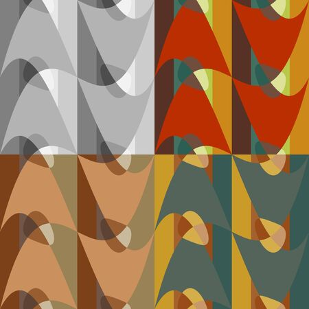 A set of colorful seamless patterns from abstract shapes Stock Illustratie