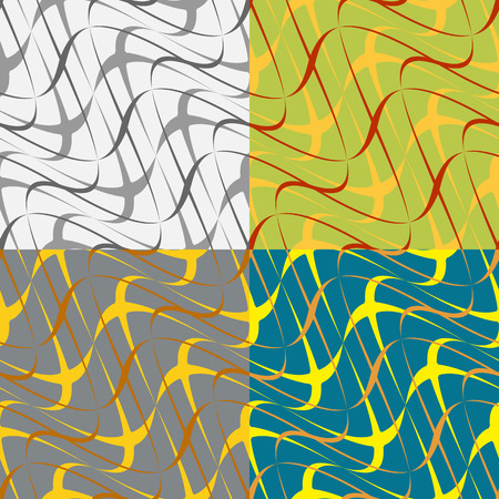 symmetrical: Set of colored abstract seamless pattern of symmetrical geometric shapes Illustration
