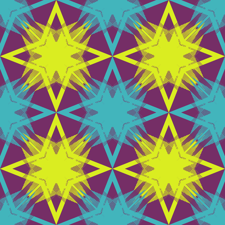symmetrical: Colored abstract seamless pattern of symmetrical geometric shapes Illustration