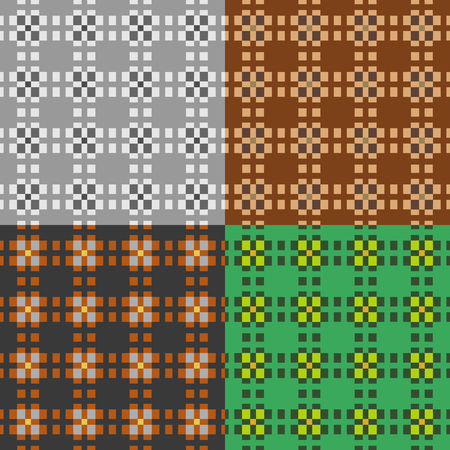 Set of colored symmetric patterns of seamless squares on a monophonic background
