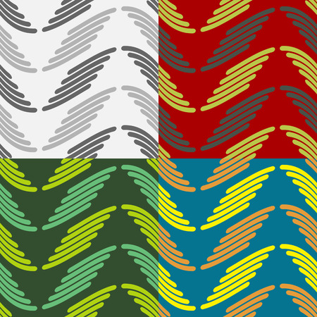 rounded edges: Set color of seamless geometric patterns with wavy stripes with rounded edges Illustration