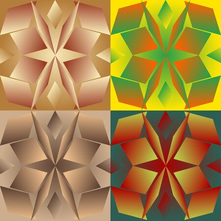 Set color of seamless geometric patterns with the parallelograms stylized under glass Vector