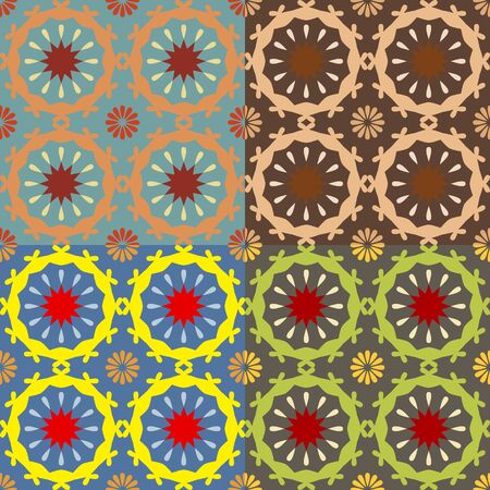 symmetrical: Set color of seamless geometric patterns with symmetrical shapes Illustration
