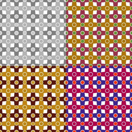 A set of colorful seamless patterns in a cage with circles photo