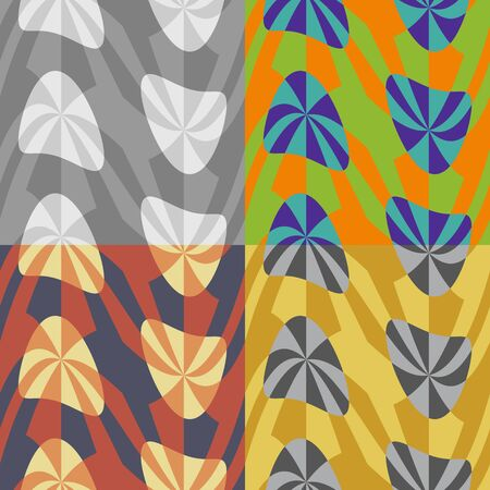 distorted: Set color of seamless abstract patterns with distorted shapes