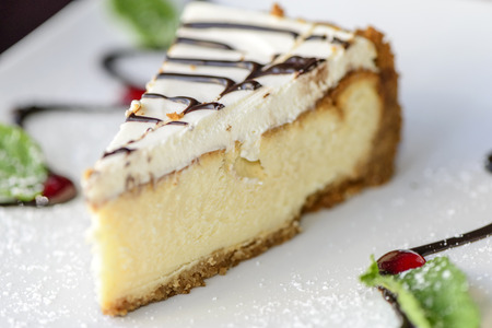 field mint: Cottage cheese cake decorated with liquid chocolate and mint leaves. Shallow depth of field close up. Stock Photo