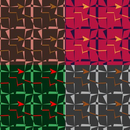 A set of abstract colour seamless patterns from distorted rectangles Vector
