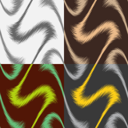 A set of abstract seamless color patterns of wavy infinite feathers