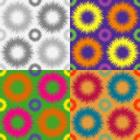 A set of abstract seamless pattern of fur colored rings