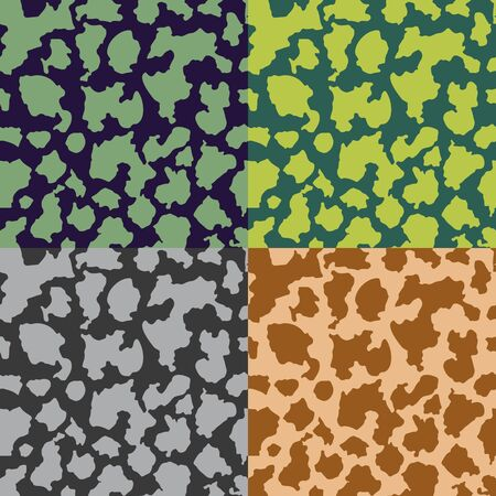 secretive: A set of abstract seamless color camouflage patterns Illustration