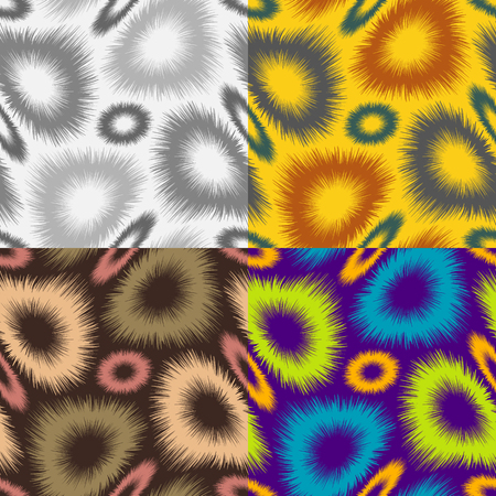 A set of abstract seamless pattern of colored fur curved rings