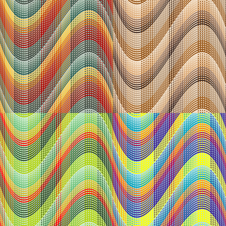 undulating: Set color of seamless vector patterns of undulating mesh