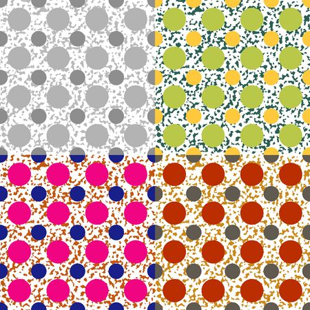 Set color of seamless vector patterns of circles on the background with spots
