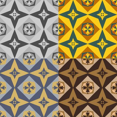 A set of abstract geometric seamless vector patterns