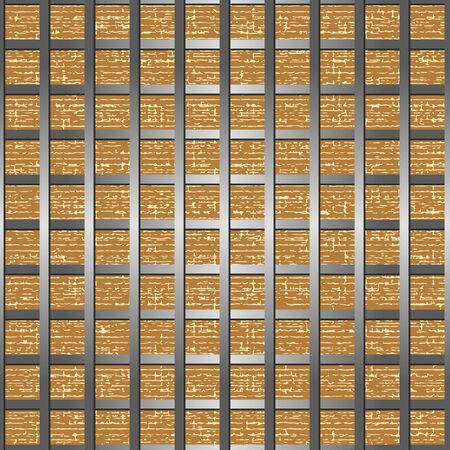 mesh: Seamless geometric pattern of steel strips on the basis of texture brown background