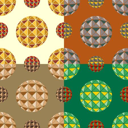 monophonic: Set color of seamless patterns from balls decorated with triangles on a monophonic background
