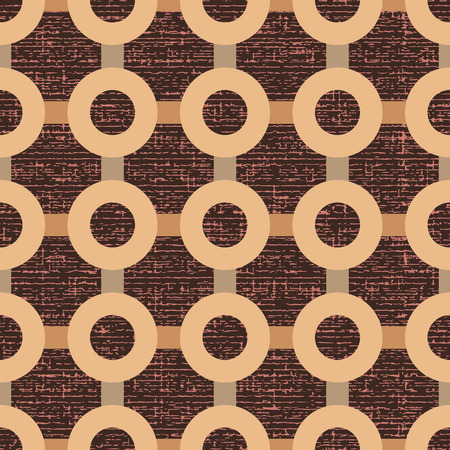 Seamless geometric pattern of stripes and circles on the basis of texture brown background