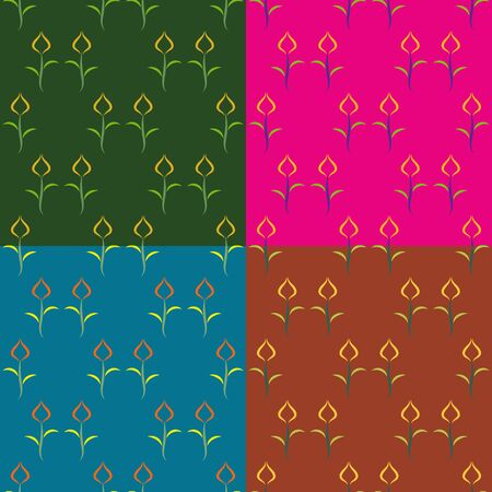 monophonic: A set of seamless vector patterns of tulips on a monophonic background Illustration