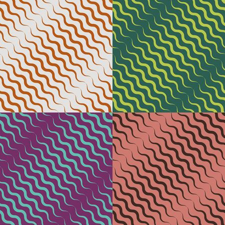 A set of seamless vector patterns of wavy colored spiky fringes Ilustrace