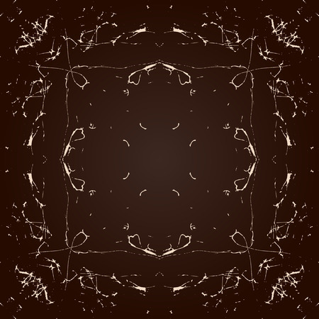 symmetrical: Vector abstract seamless symmetrical pattern of chaotic curves in shades of brown Illustration