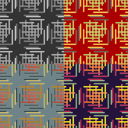 rounded edges: A set of abstract vector seamless pattern of intersecting lines strips with rounded edges