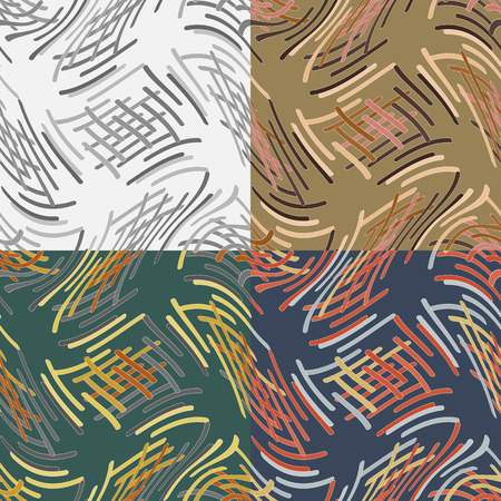 rounded edges: A set of abstract vector seamless pattern of intersecting wavy bands with rounded edges