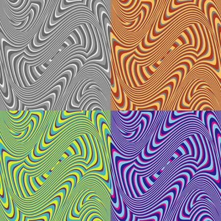 fringes: Set of seamless vector patterns of colored curved fringes
