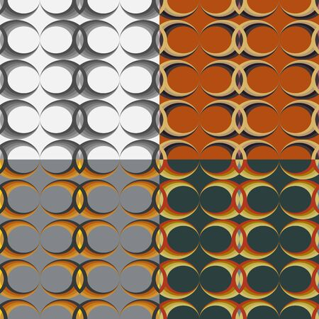 Set of seamless vector pattern of oval shapes