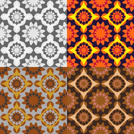 Set of seamless vector abstract circular patterns