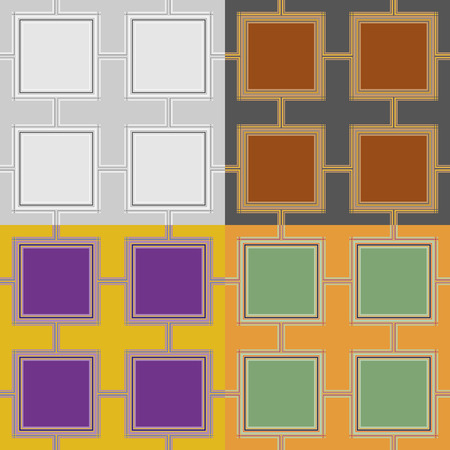 plain background: Set of seamless vector pattern of squares on a plain background
