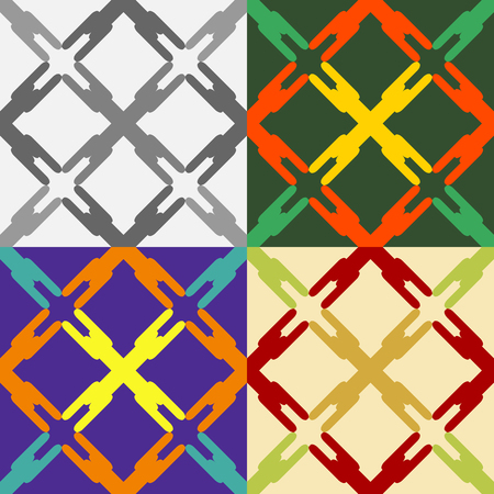 plain background: Set of seamless pattern of abstract grid on a plain background Illustration