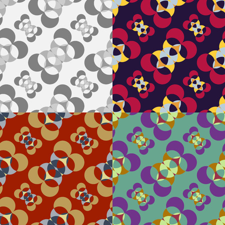 Set of seamless patterns of rounded geometric shapes on a solid background
