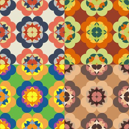 Set of seamless patterns from images of a kaleidoscope on a solid background