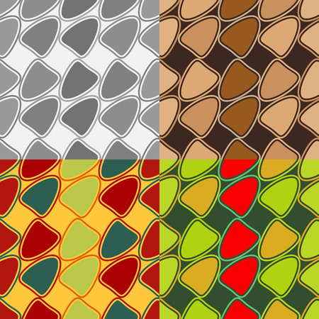 Set of seamless vector patterns of symmetric geometric shapes on a solid background