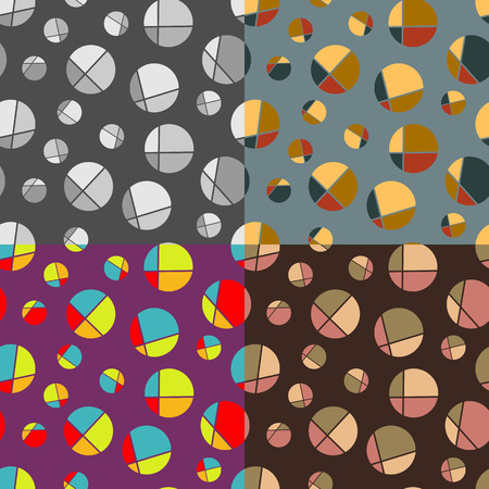 Set of seamless vector pattern of circles on a striped background Ilustração