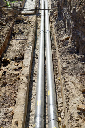 trench: Water pipes in the trench excavated urban utility communications