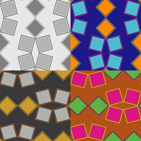 Set of seamless pattern of rectangles on a solid background Illusztráció