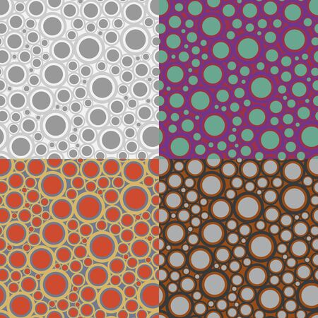 Set of seamless pattern of circles on a striped background Иллюстрация